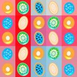 Colofulachtergrond met vlakke fruitplakken stock illustratie