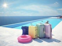Colofulkoffers naast het zwembad het 3d teruggeven Stock Foto's
