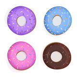 Colofull doughnuts set. Set of donuts with colorfull glaze and frosting Royalty Free Stock Photo