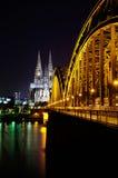 cologne собора моста hohenzollern Стоковое Изображение