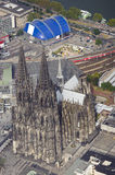 Cologne. Beautiful aerial view from cologne with the cologne cathedral
