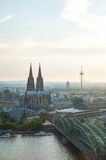 Cologne aerial overview before sunset royalty free stock photo