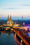 Cologne aerial overview after sunset royalty free stock photos