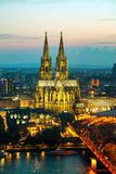 Cologne aerial overview after sunset royalty free stock images