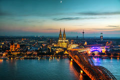 Cologne aerial overview after sunset royalty free stock photography