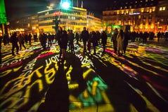 Cologne, Allemagne - 16 janvier 2017 : Installation légère autour de la cathédrale de cologne Image stock