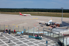 Cologne Bonn Airport runway and visitors terrace Stock Images