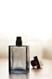 Cologne bottle. A view with a bottle of perfume stock image