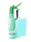 Cologne and bottle for shampoo. On the white background stock image