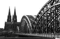 Cologne Bridge And Cathedral (B&W) Stock Image