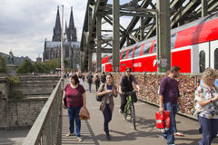 Cologne Bridge and Cathedral Stock Photography