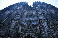 Cologne Cathedral. The mighty gothic cathedral of Cologne, seen from below stock images