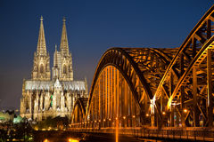 Cologne Cathedral. The  Cathedral in Cologne at Night Stock Images