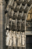 Cologne Cathedral. A detail of the main gothic facade of the Cologne Cathedral in Cologne, Germany. The lower row of statues from left to right: Prophet Moses stock photography