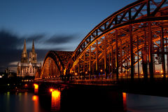 Cologne cathedral during blue hour. The Cologne Cathedral during blue hour Royalty Free Stock Photo