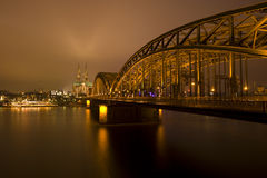 Cologne Cathedral and bridge Royalty Free Stock Image