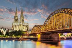 Cologne cathedral with bridge germany