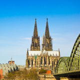 Cologne Cathedral and Bridge, Germany Stock Images
