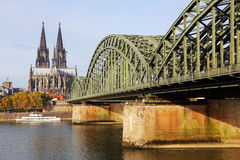 Cologne Cathedral and the bridge Royalty Free Stock Photos
