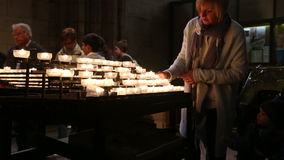 Cologne Cathedral church candles stock video footage