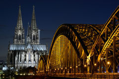 Cologne Cathedral (Dom) and Hohenzollern Bridge, Cologne, Germany Royalty Free Stock Photos