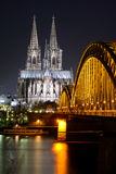 Cologne Cathedral (Dom) and Hohenzollern Bridge, Cologne, Germany Stock Images