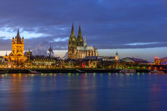 Cologne Cathedral at dusk Stock Images