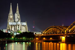 Cologne Cathedral From The Rhein Royalty Free Stock Photography