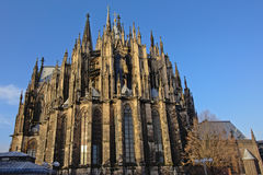 Cologne Cathedral or high cathedral of saint peter, view from the back Stock Photo