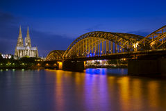 Cologne Cathedral and Hohenzollern Bridge Royalty Free Stock Photos