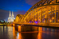 Cologne Cathedral and Hohenzollern Bridge, Cologne, Germany Royalty Free Stock Photo
