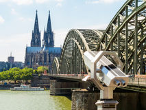 Cologne Cathedral and Hohenzollern Bridge, Cologne, Germany Stock Image