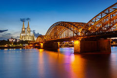 Cologne Cathedral and Hohenzollern Bridge, Germany Royalty Free Stock Image