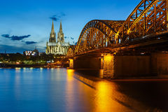 Cologne Cathedral and Hohenzollern Bridge, Germany Royalty Free Stock Photos