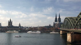 Cologne Cathedral and Hohenzollern Bridge stock video footage