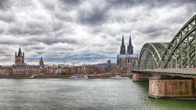 Cologne Cathedral with the Hohenzollern bridge Stock Photo