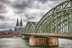 Cologne Cathedral with the Hohenzollern bridge Stock Image