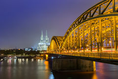 Cologne Cathedral and Hohenzollern Bridge ,Germany Royalty Free Stock Photography
