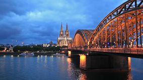 Cologne Cathedral and Hohenzollern Bridge. Static viev on Cologne Cathedral and Hohenzollern Bridge stock video footage