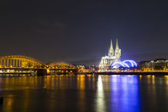 Cologne Cathedral (Kolner Dom) on Christmas eve at dusk Stock Photos