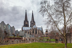 Cologne Cathedral and Modern philharmonic concert hall Royalty Free Stock Photo