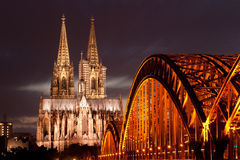 Cologne cathedral during night. The Cologne Cathedral during night Royalty Free Stock Photo