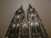 Cologne Cathedral at night. Looking up Cologne Cathedral at night Stock Photos