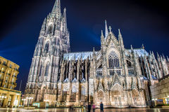 Cologne Cathedral at night. In Germany. Travel to Europe Royalty Free Stock Images