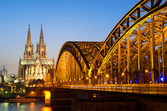 Cologne with cathedral by night Stock Photography