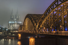 Cologne cathedral at night Royalty Free Stock Images