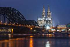 Cologne cathedral at night Stock Photos