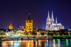 Cologne Cathedral night scene Stock Photo