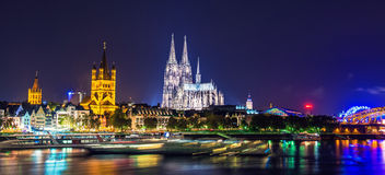 Cologne Cathedral night scene Royalty Free Stock Photography