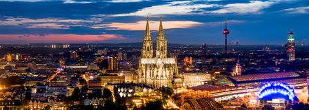 Cologne Cathedral at night royalty free stock photo